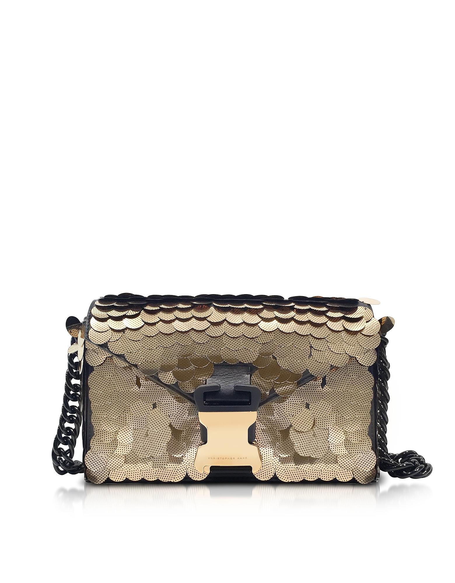 Christopher Kane Handbags, Gold Sequins Classic Devine Clutch w/Chain Strap