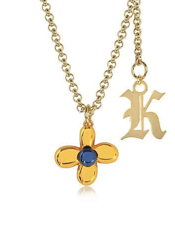 Christopher Kane - Orange Flower Charm Necklace w/Gothic K Pendant