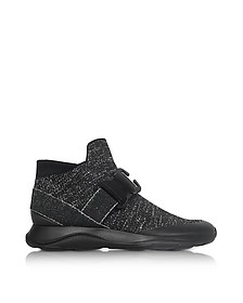 High top Black & Silver Lurex Sneaker - Christopher Kane