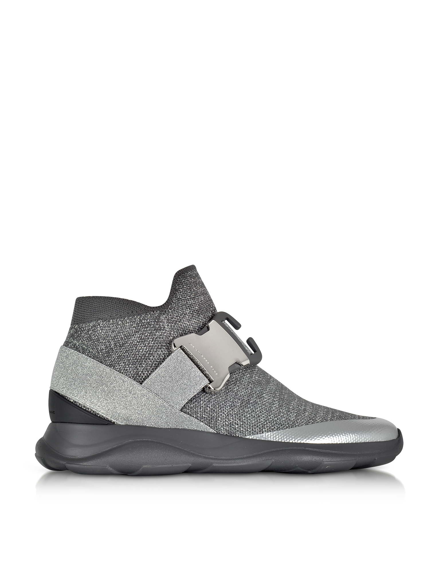High top Lurex Grey & Silver Sneaker