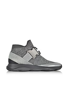 High top Lurex Grey & Silver Sneaker - Christopher Kane