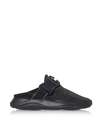 Christopher Kane - Tonal Black & Silver Fabric Slide Sneaker