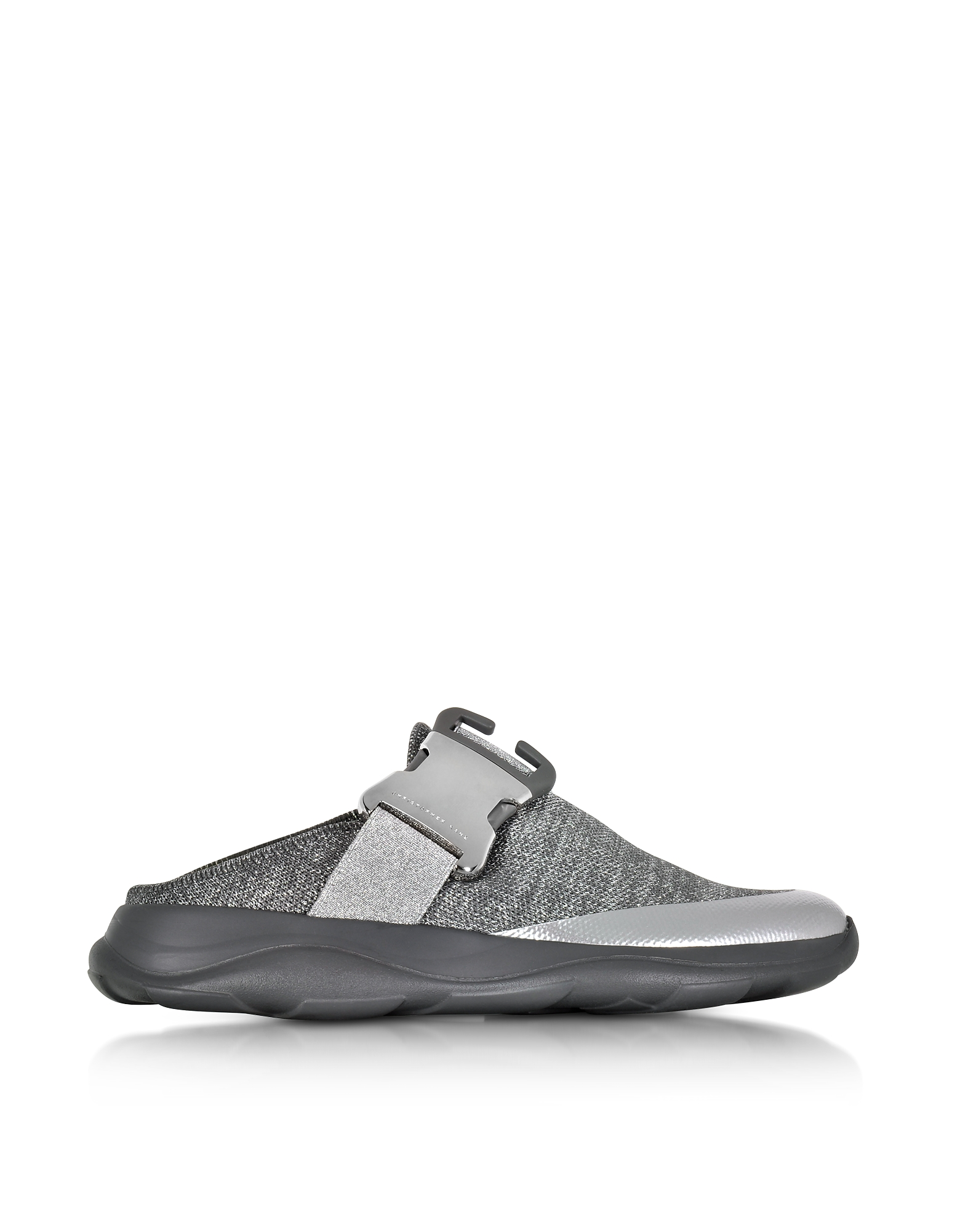 Christopher Kane Shoes, Tonal Grey & Silver Fabric Slide Sneaker