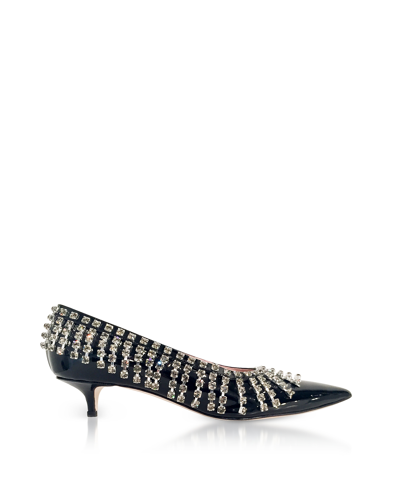 Christopher Kane Shoes, Crystal Fringes Patent Leather Mid-Heel Pumps