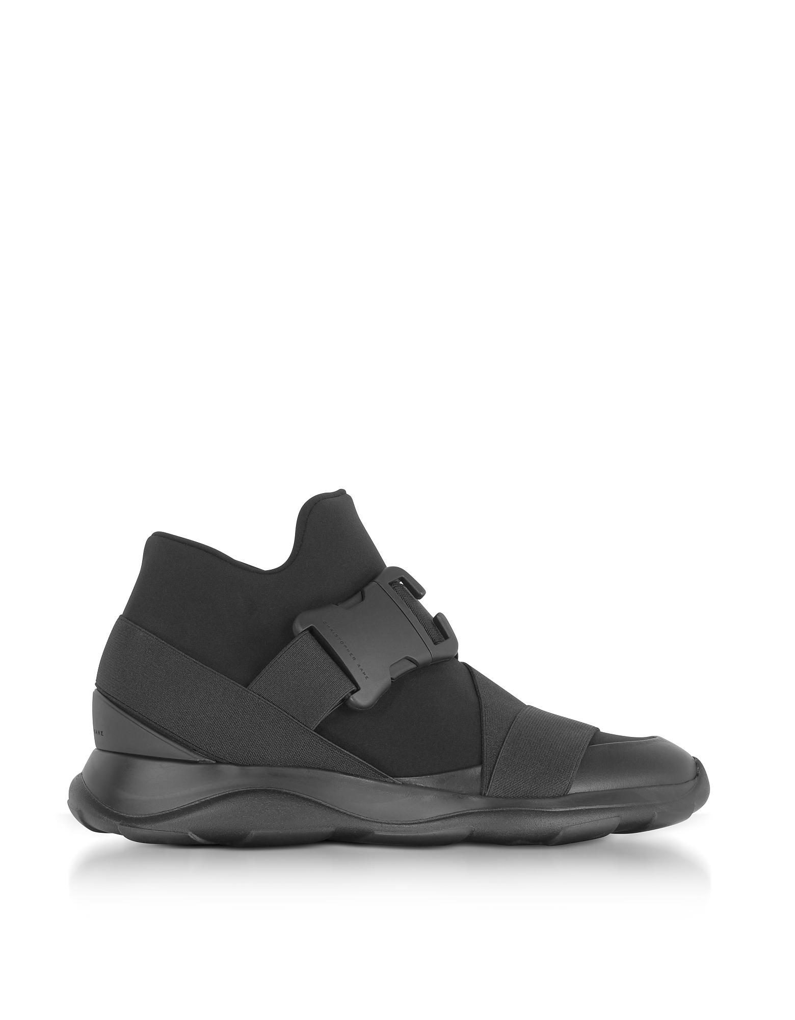Christopher Kane Shoes, Black Neoprene High Top Women's Sneakers