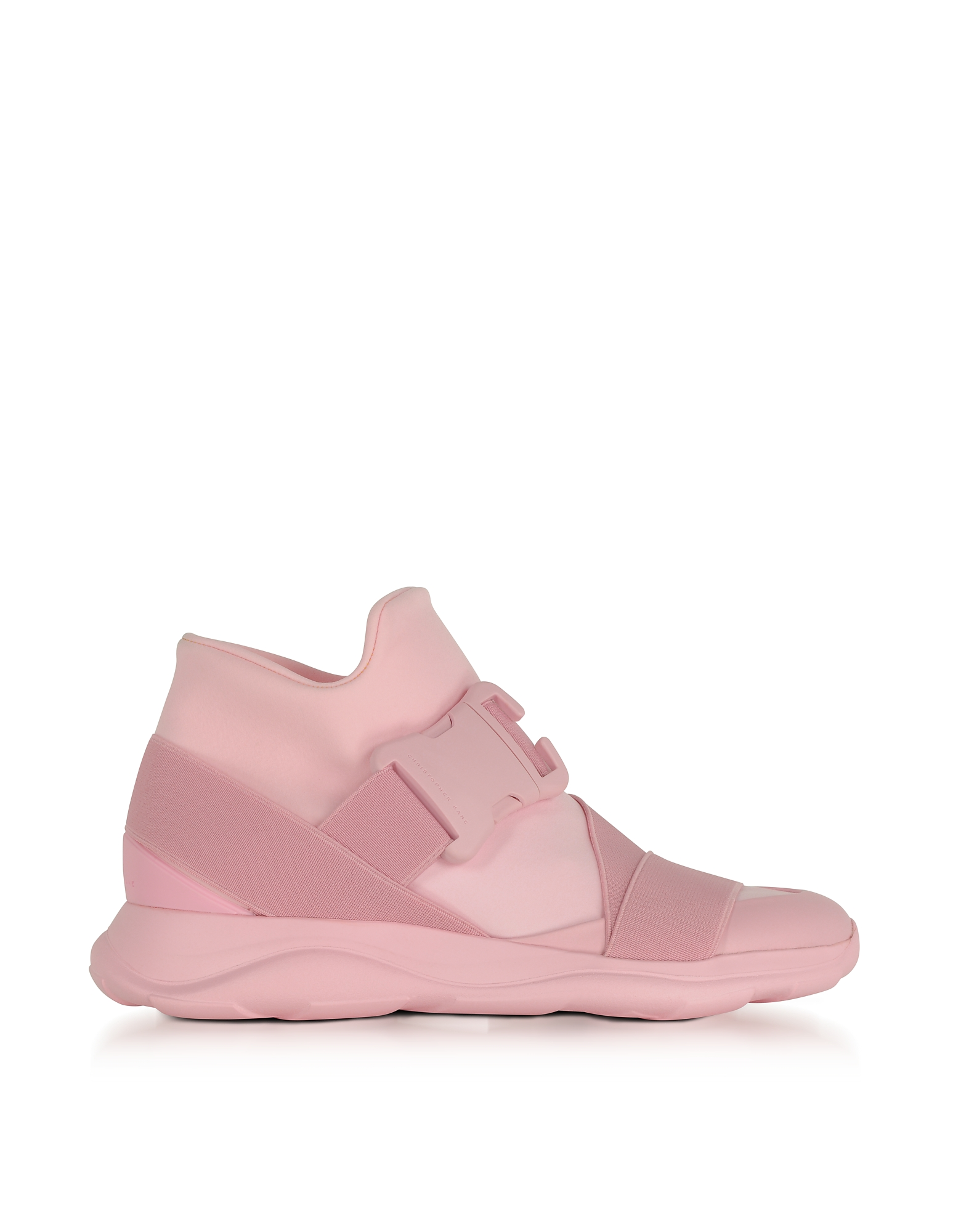 Christopher Kane Shoes, Pink Neoprene High Top Women's Sneakers