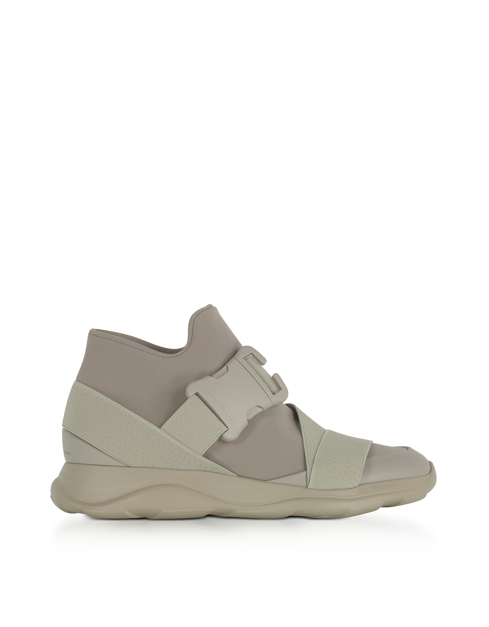 Christopher Kane Shoes, Putty Gray Neoprene High Top Women's Sneakers