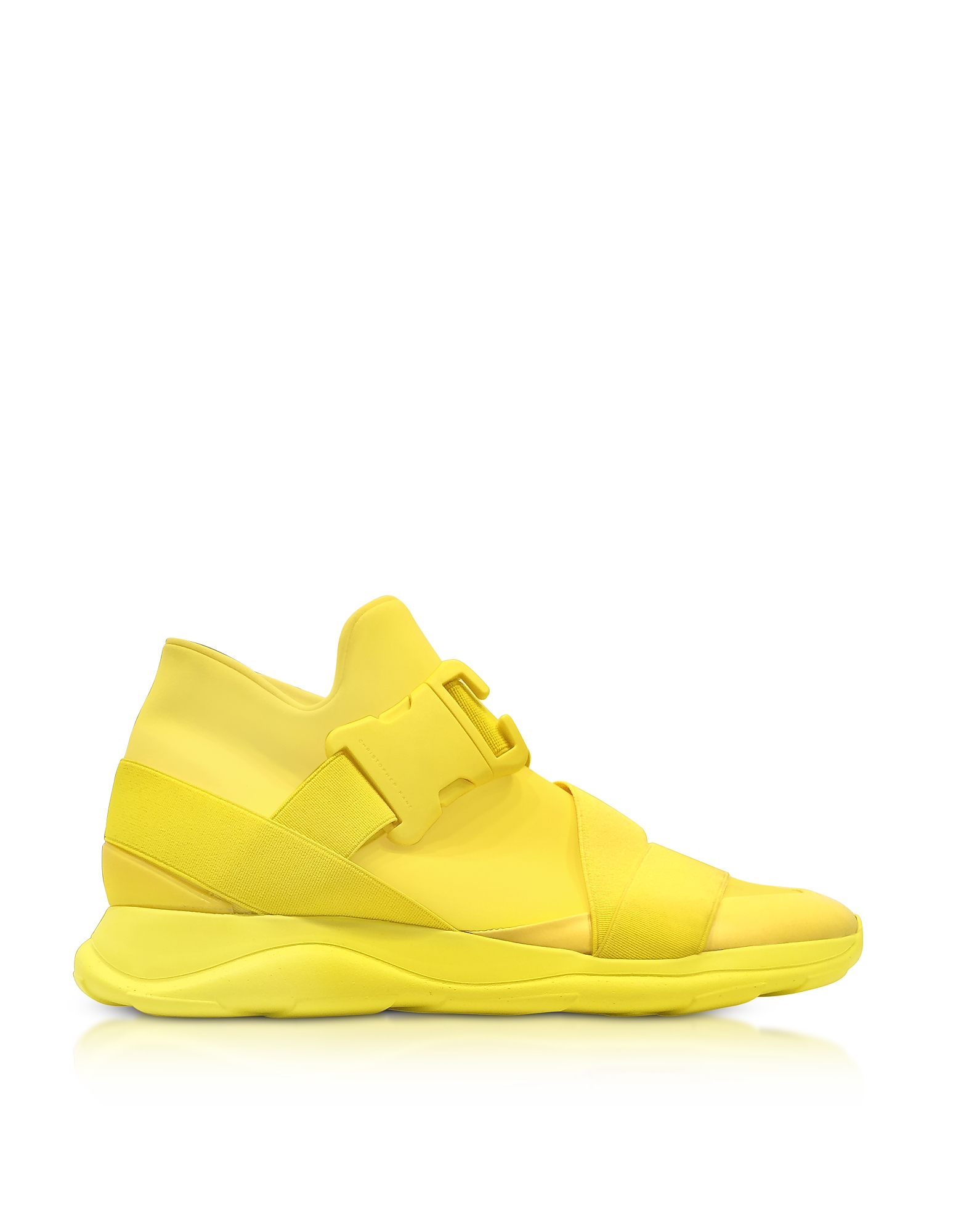Christopher Kane Shoes, Yellow Neoprene High Top Women's Sneakers