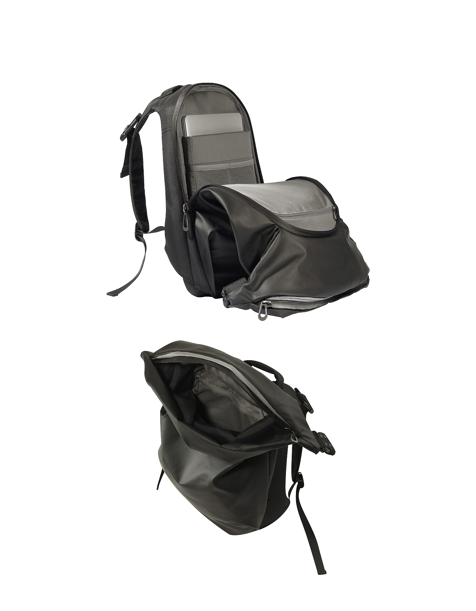 Nile Obsidian Black Polyester Backpack от Forzieri.com INT