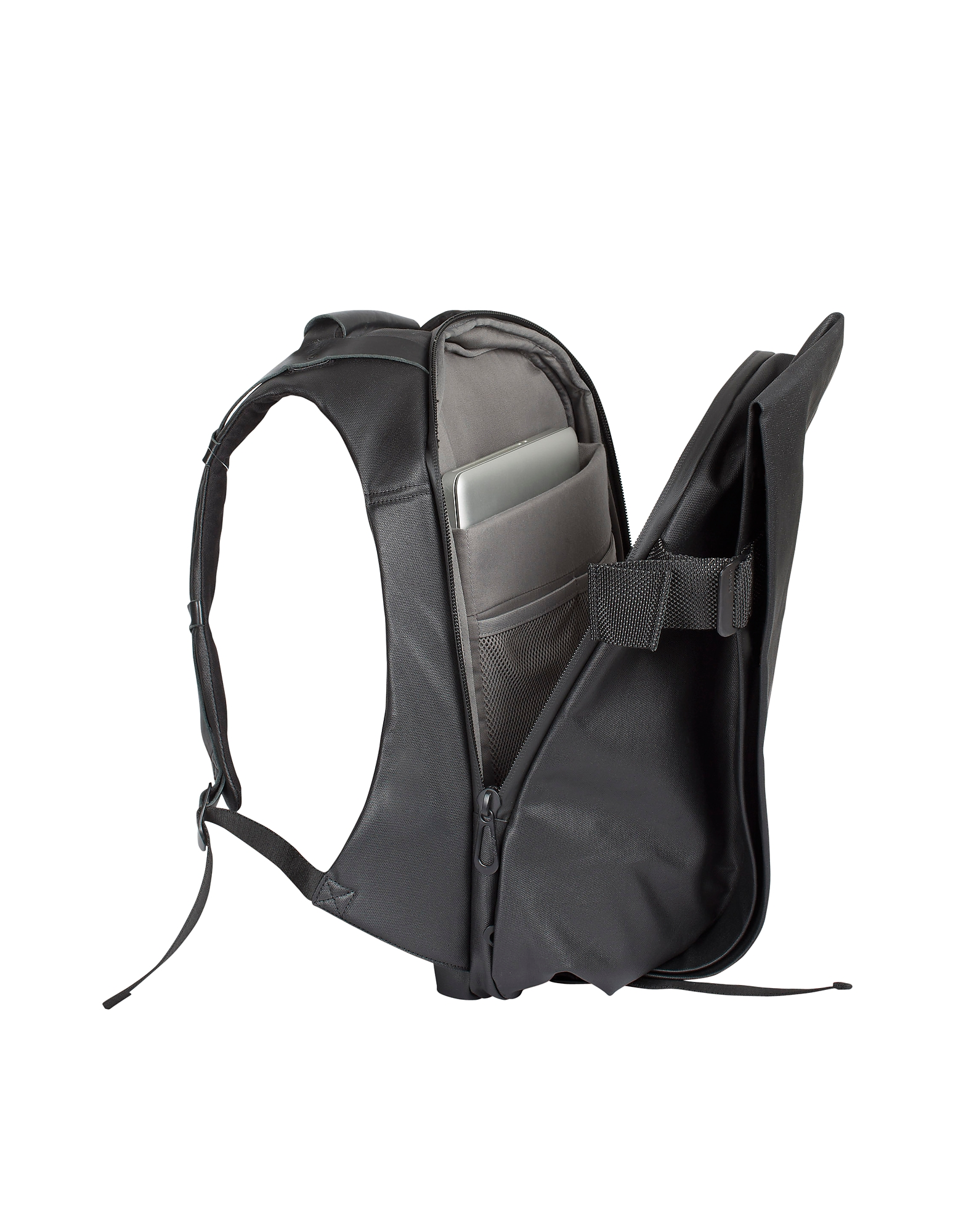 Isar Medium Black Coated Canvas Backpack от Forzieri.com INT
