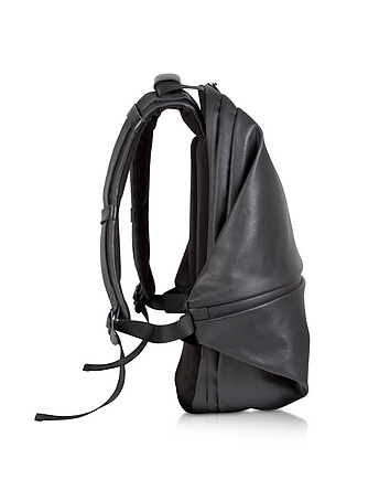 Meuse Black Coated Canvas Backpack
