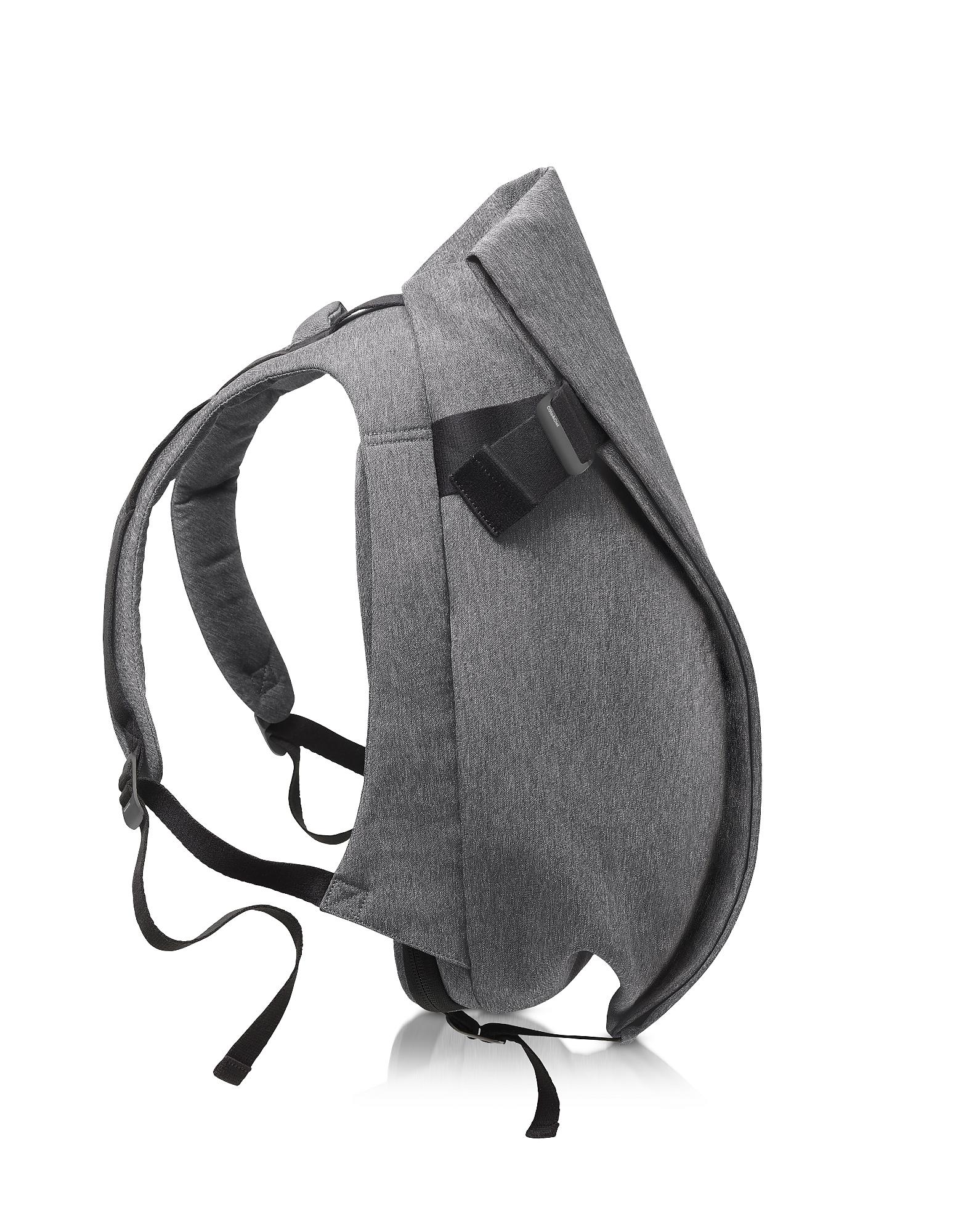 Côte & Ciel Designer Men's Bags, Isar Medium Black Melange Eco Yarn Backpack