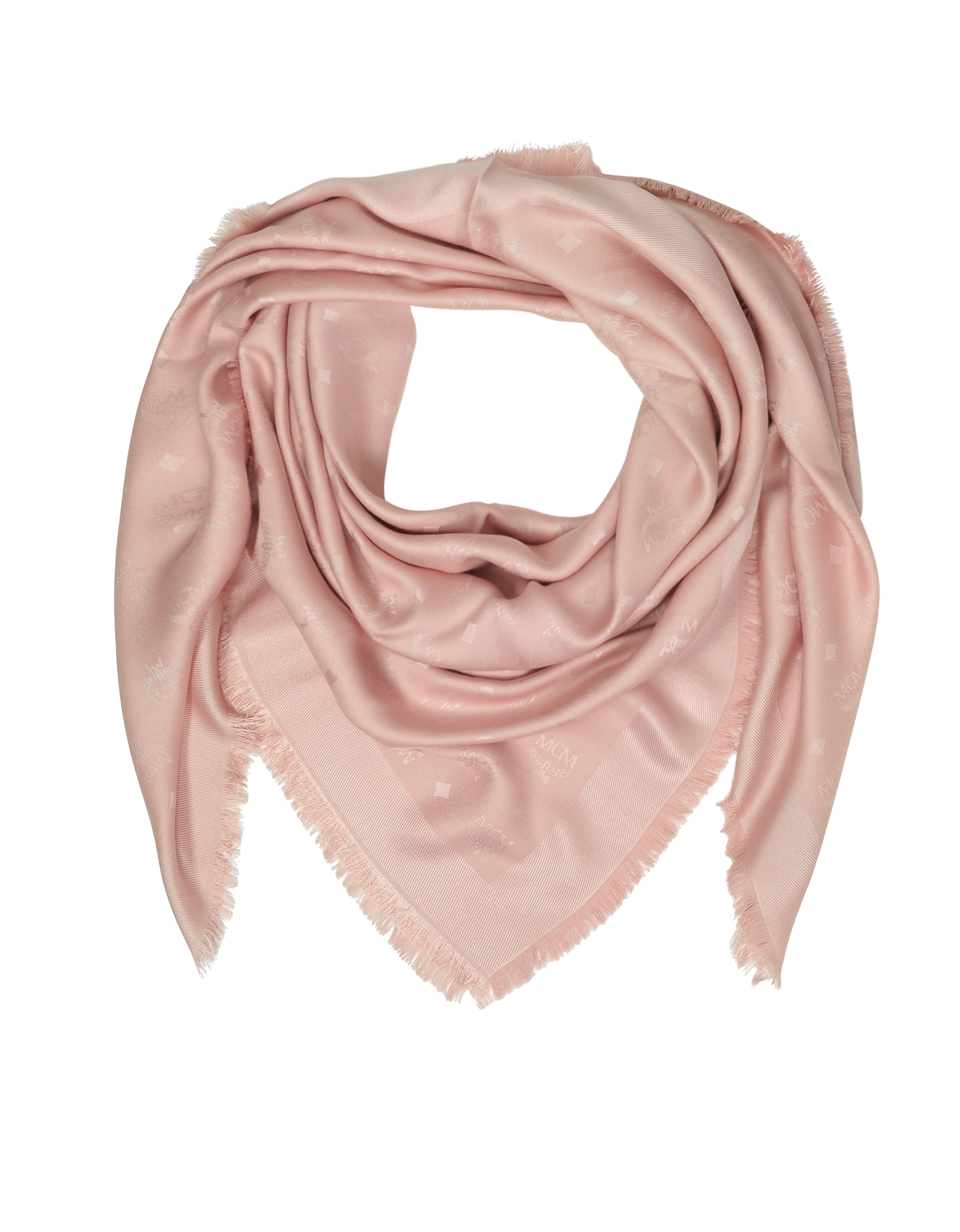 Pink Signature Jacquard Wool and Silk Wrap