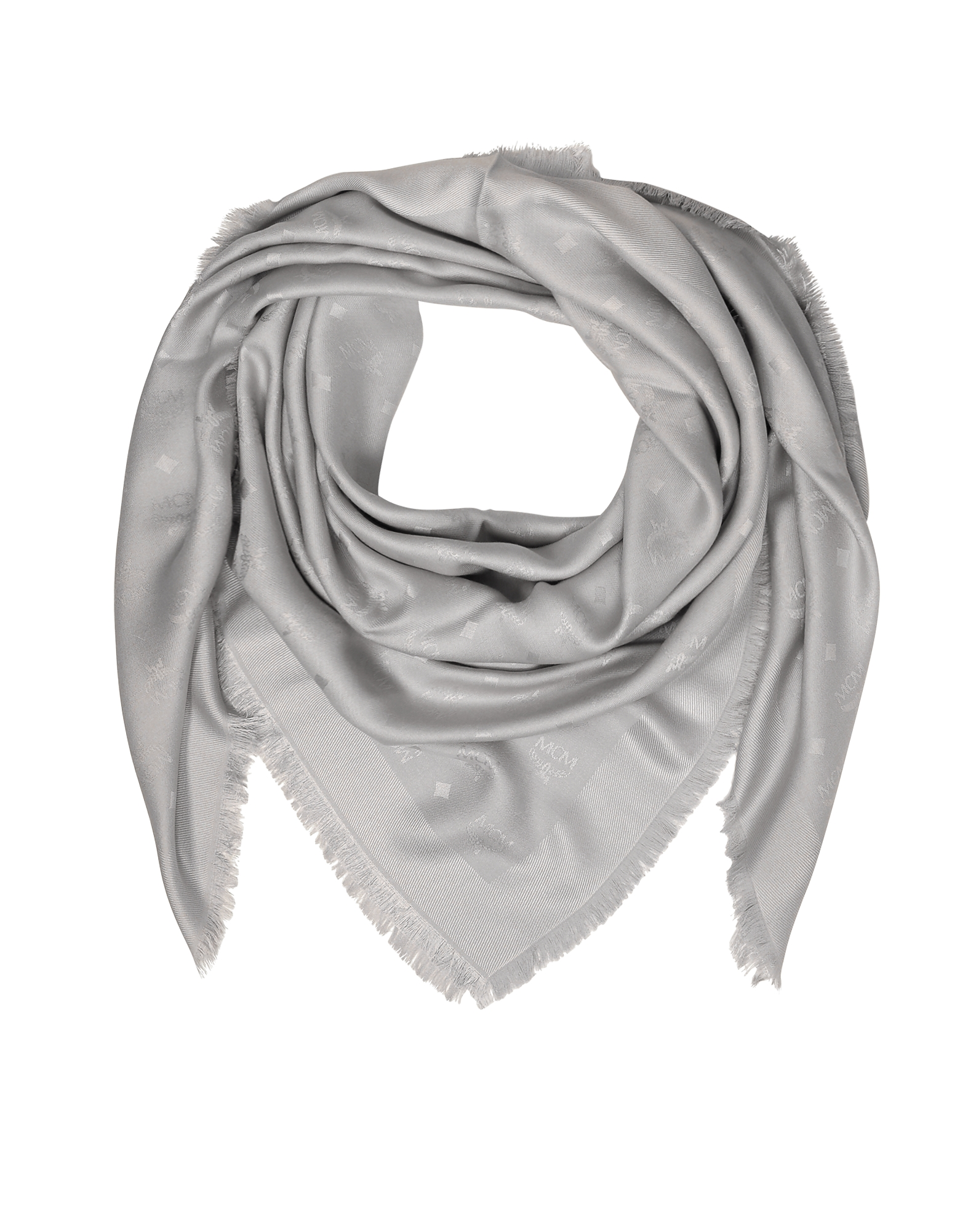 Light Gray Wool and Silk Monogram Lurex Scarf