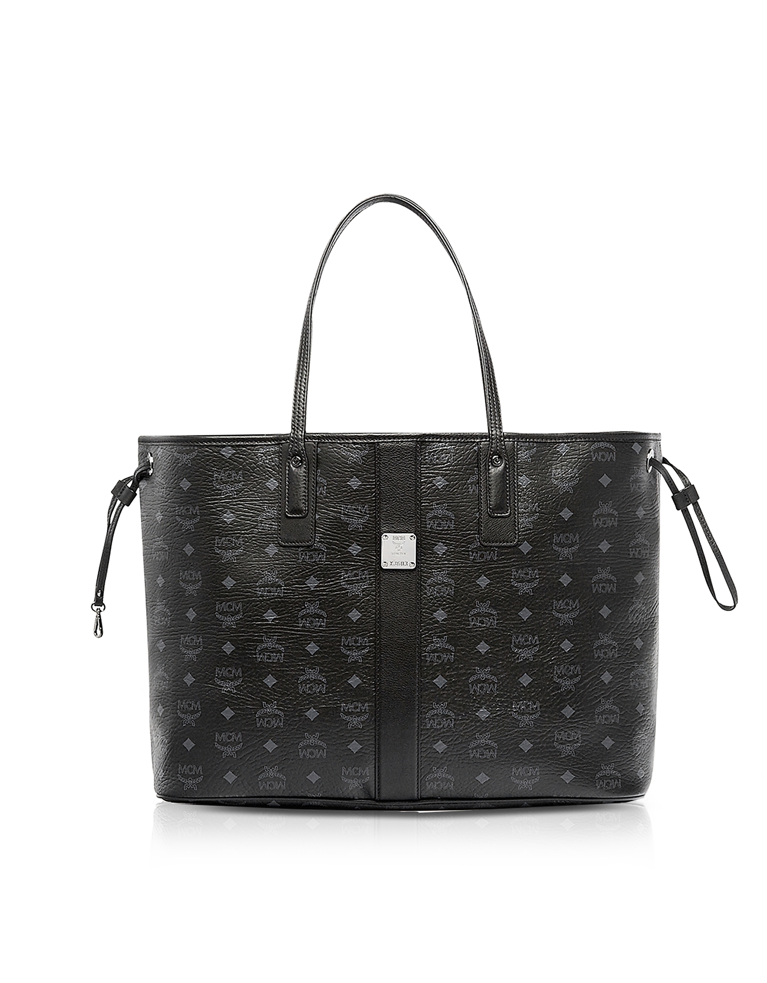 MCM Handbags, Black Visetos Large Reversible Liz Shopper