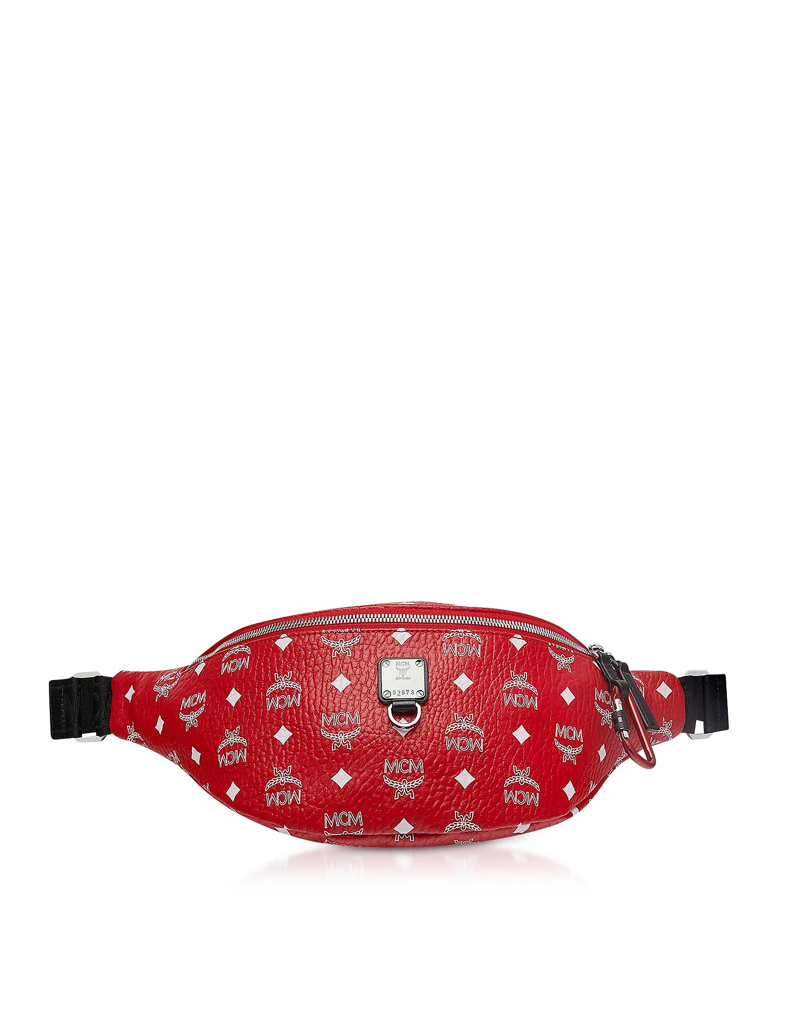 Viva Red Fursten Medium Belt Bag w/White Logo Visetos