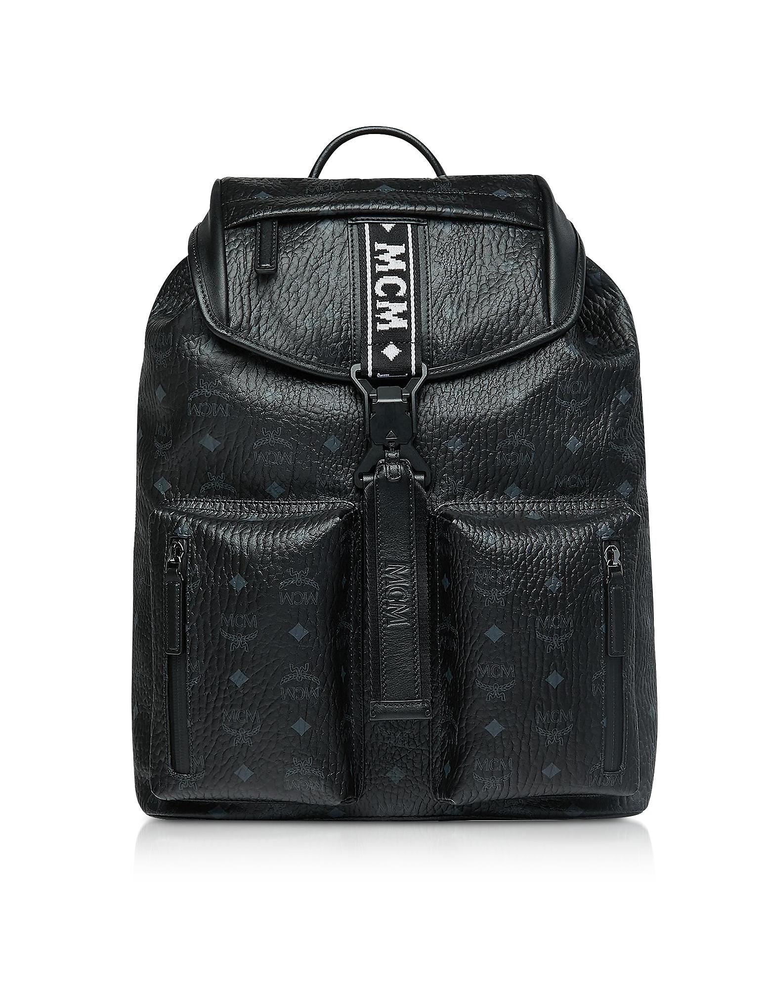 Black Visetos Raymonde Two Pocket Medium Backpack