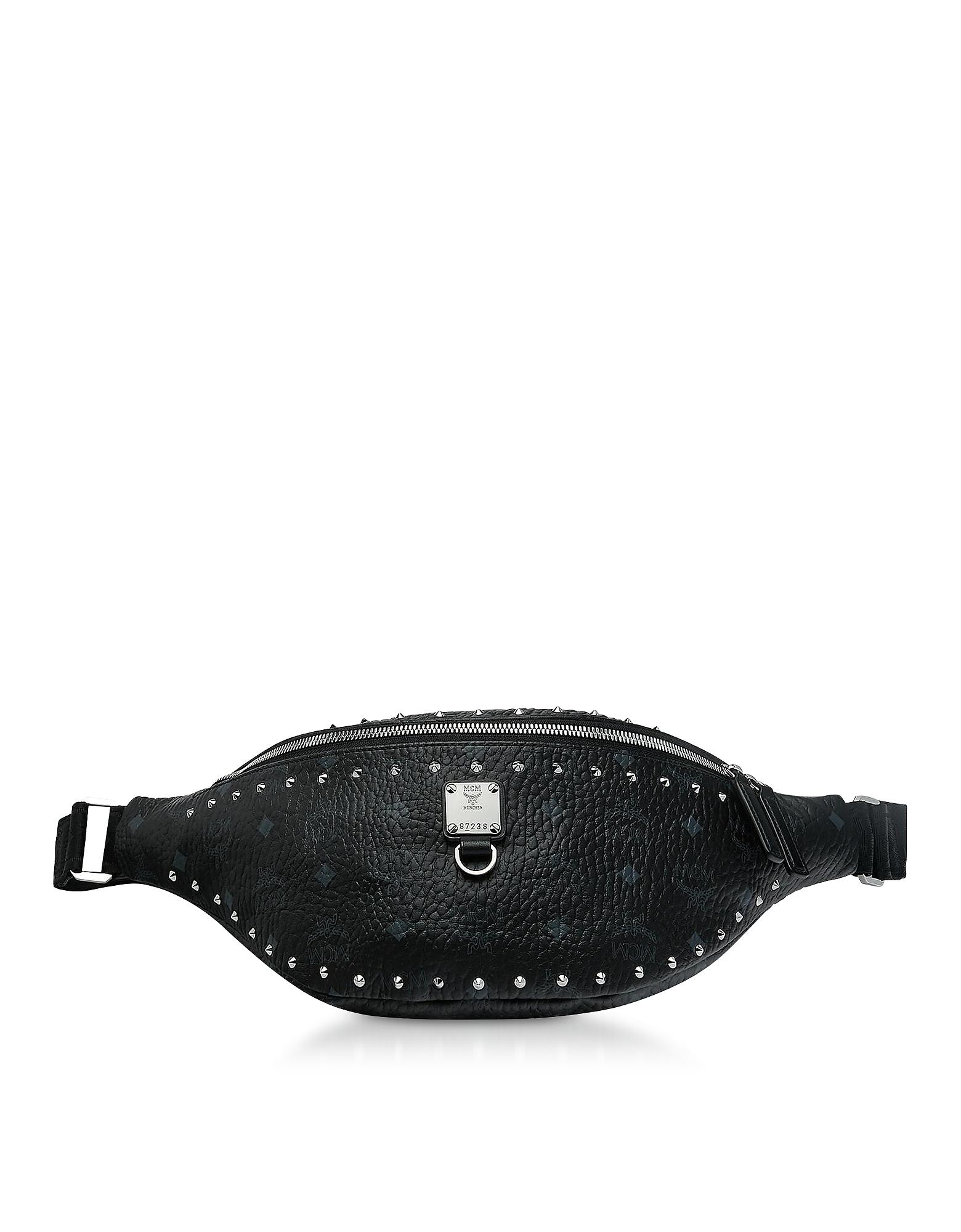 Black Studded Outline Fursten Belt Bag