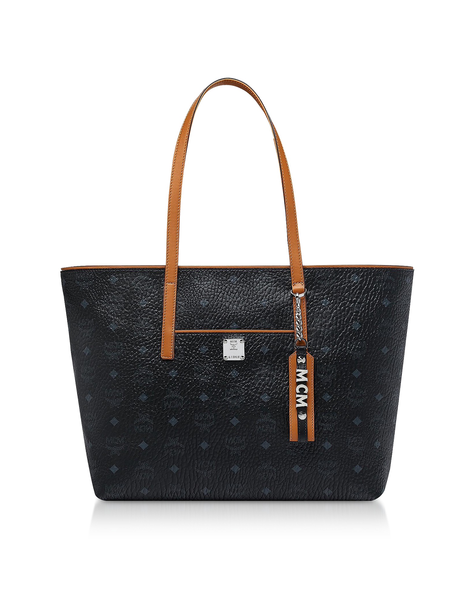 Black Visetos Anya Top Zip Shopping Bag