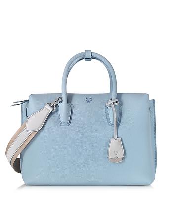 Milla Sky Blue Leather Medium Tote