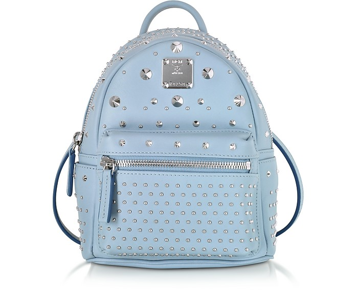 Stark Special Bebe Boo Sky Blue Leather Backpack - MCM