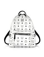 MCM Stark Small Backpack Zaino Bianco con Logo e Borchie - mcm - it.forzieri.com