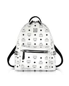 Stark - Petit Sac à Dos en PVC Blanc avec Imprimé Logo MCM Noir - MCM