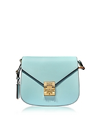 MCM Patricia Small Borsa con Tracolla in Pelle Liquid Blue - mcm - it.forzieri.com