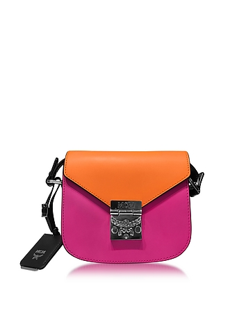 Patricia Atomic Orange and Electric Pink Leather Mini Shoulder Bag