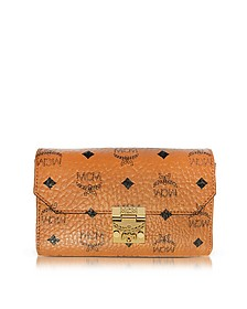 Millie Visetos Cognac Coated Canvas Medium Flap Crossbody - MCM