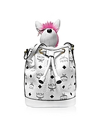 MCM Rabbit Drawstring Mini Secchiello in Eco Pelle Bianco Ottico con Logo - mcm - it.forzieri.com