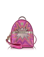 MCM Stark Cyber Studs XMN Backpack Zaino in Pelle Rosa Shocking - mcm - it.forzieri.com