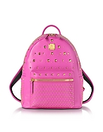 MCM Stark Special Small Backpack Zaino in Pelle Rosa Shocking - mcm - it.forzieri.com