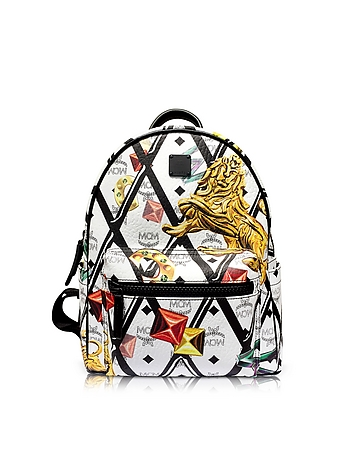 MCM - White Stark Motif Rombi Small Backpack