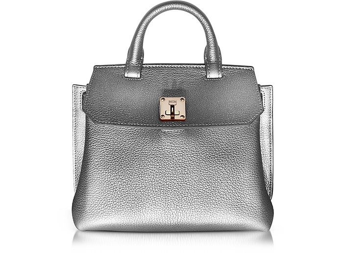 Milla Spike Silver Park Avenue Leather Small Crossbody - MCM