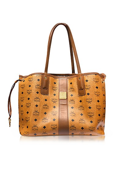 Cognac Shopper Project Visetos Liz Reversible Medium Tote - MCM