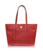 MCM Anya Top Zip Medium Shopper Rossa con Logo - mcm - it.forzieri.com