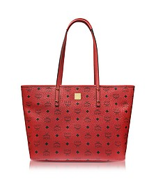 Anya Ruby Red Top Zip Medium Shopping Bag - MCM
