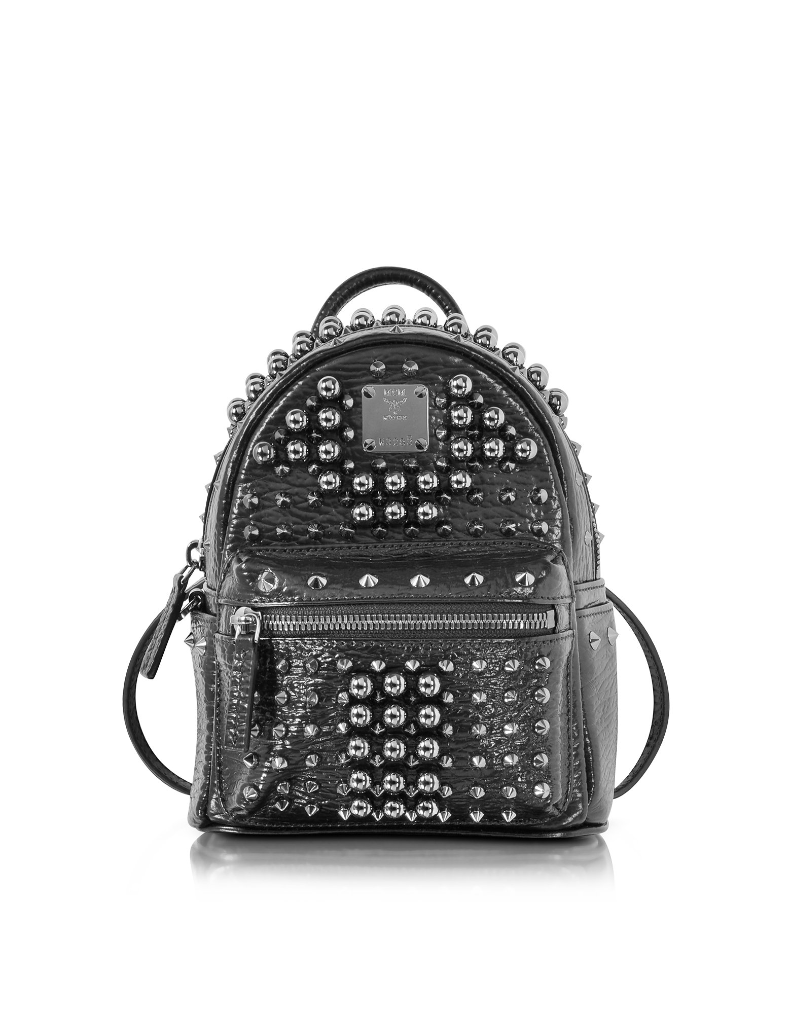 MCM X-Mini Stark - Черный Рюкзак с Перламутровыми Заклепками