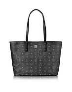 MCM Anya Top Zip Medium Shopper Nera con Logo - mcm - it.forzieri.com
