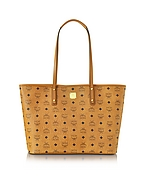 MCM Anya Top Zip Medium Shopper Cognac con Logo - mcm - it.forzieri.com