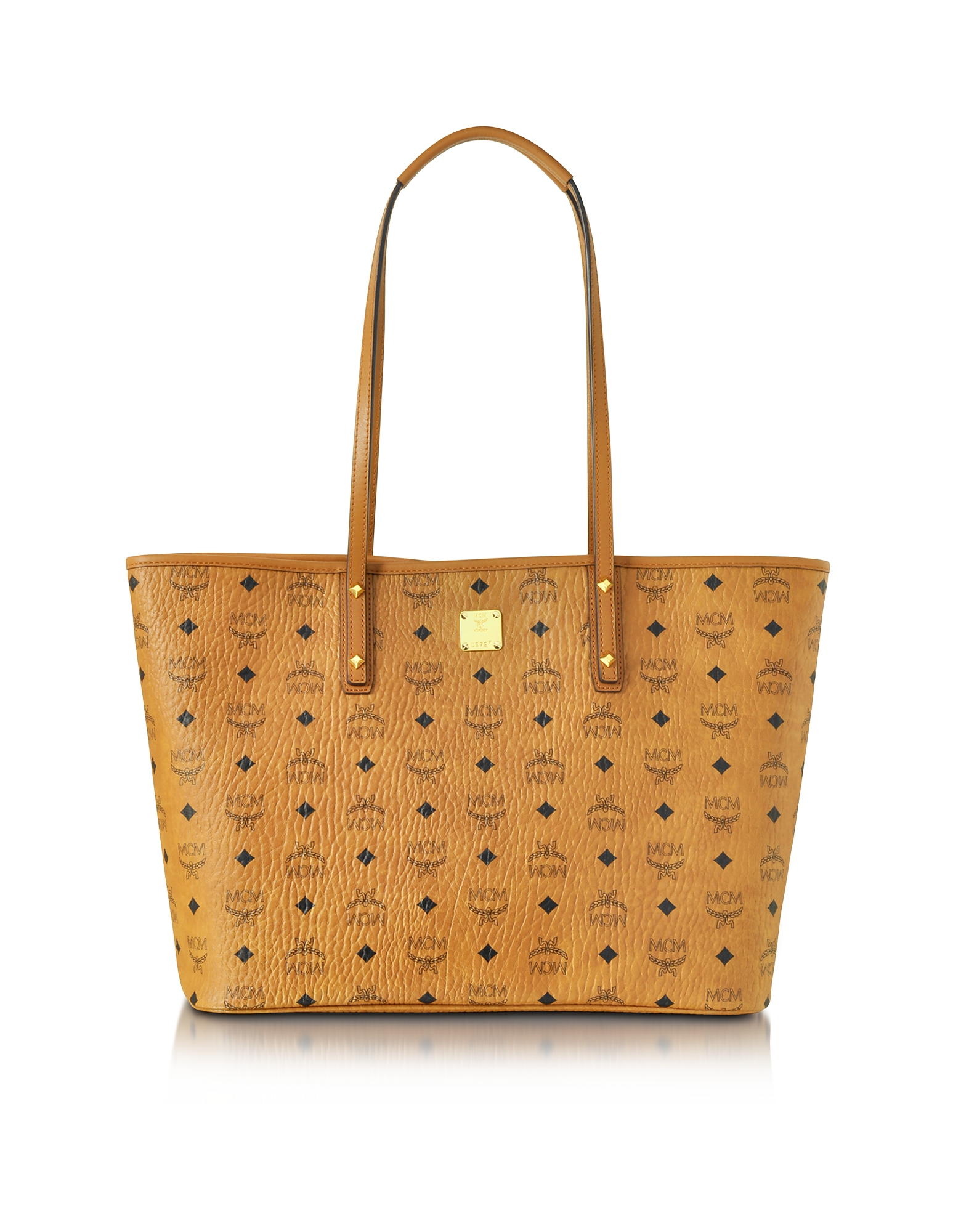 Anya Top Zip Medium Shopper Cognac con Logo