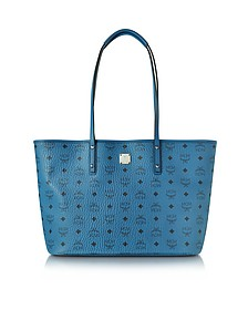 Anya Munich Blue Top Zip Medium Shopping Bag - MCM