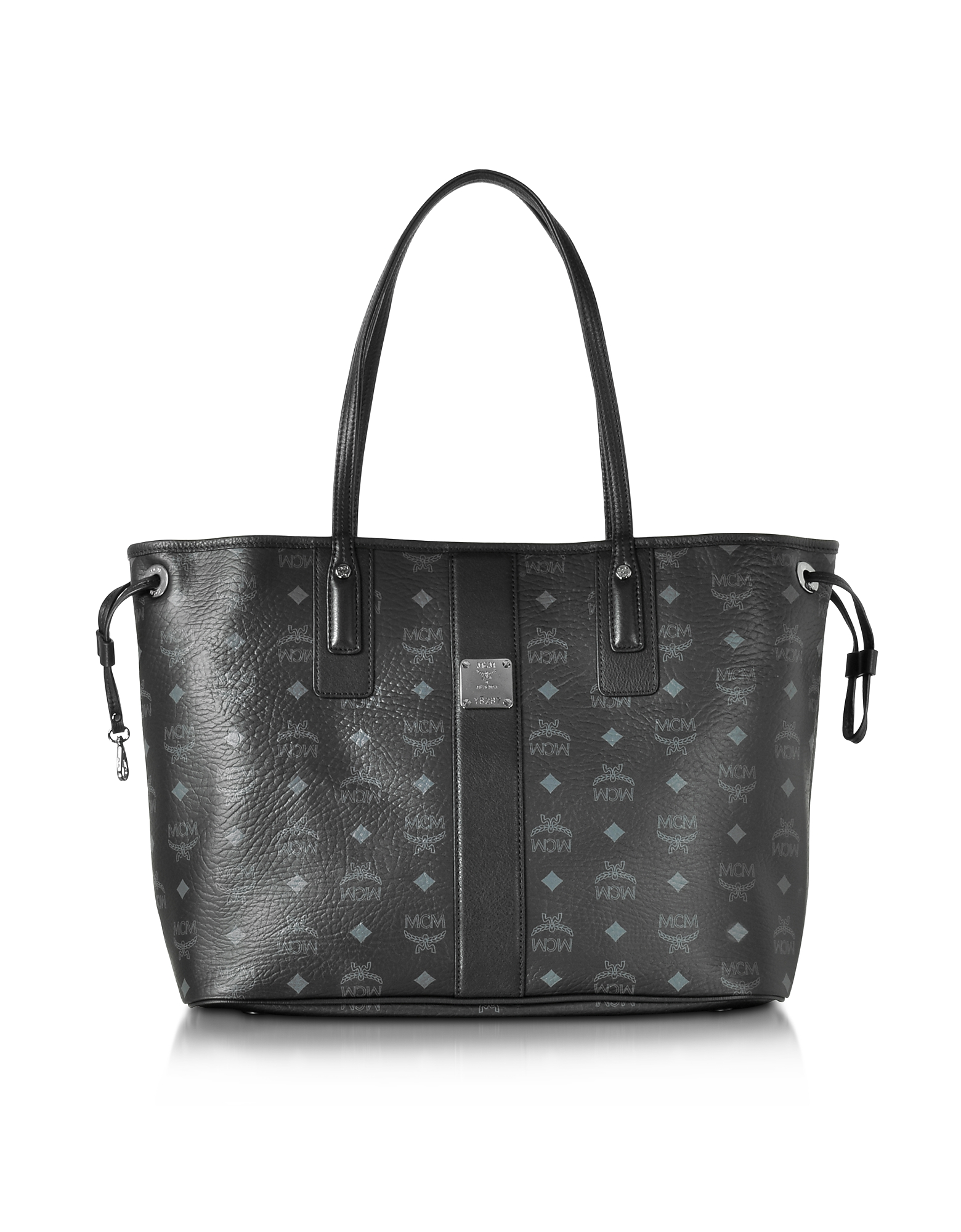 MCM Handbags, Black Shopper Project Visetos Liz Reversible Medium Tote