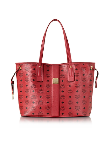 MCM - Ruby Red Shopper Project Visetos Liz Reversible Medium Tote