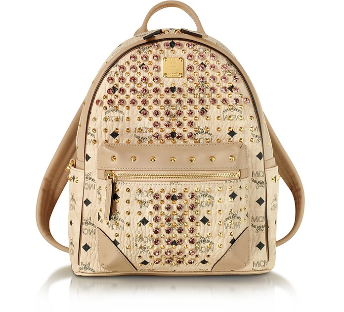Beige Small Diamond Visetos Backpack