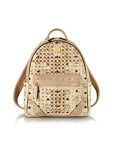 Beige Small Diamond Visetos Backpack - MCM