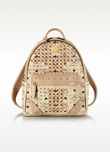 Beige Small Diamond Visetos Backpack - MCM