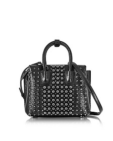 Black Mini Milla Pearl Studs Tote Bag - MCM
