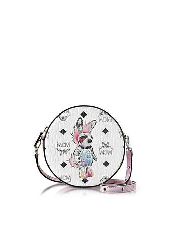 Rabbit Coated Canvas Small Tambourine Crossbody Bag